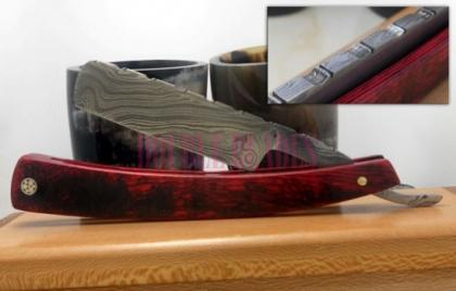 Damascus Steel Shaving Razor Colored Handle