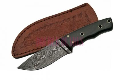 DAMASCUS PIPE FITTED HORN BOWIE KNIFE