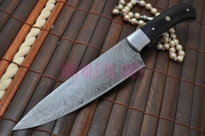 DAMASCUS CHEF KNIFE BUFFALO HORN HANDLE
