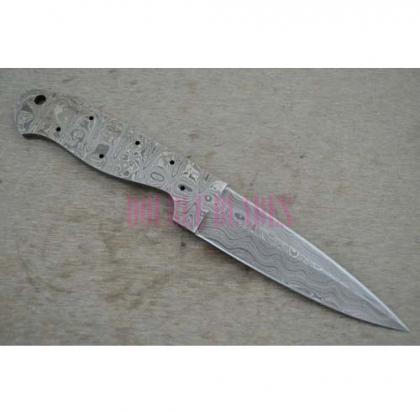 Damascus Knife Blank Blade
