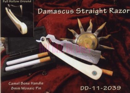 Damascus Steel Straight Shaving Razor Plastic Handle