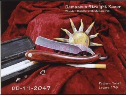 Damascus Steel Straight Shaving Razor Wood Handle
