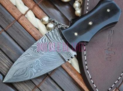 Custom Made Damascus Double Edge Hunting Knife