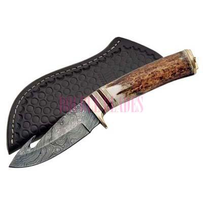 Damascus Hunting Knife Stag Handle