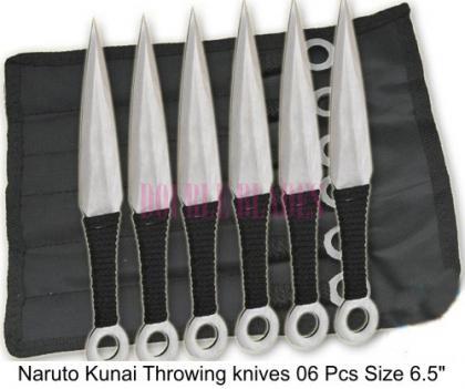 Naruto Kunai Throwing knives Silver 6 Pcs
