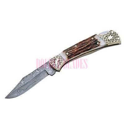 DAMASCUS STAR FOLDING KNIFE