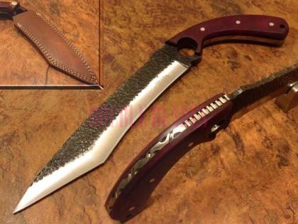 Hammered Carbon Steel Tanto Hunting Knife