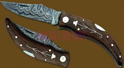 Damascus Steel Laguiole Banana Knife Bone Handle