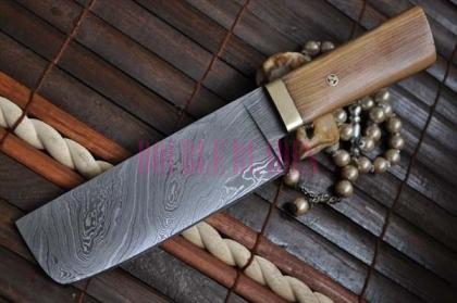Damascus Chef Cleaver Wood Handle