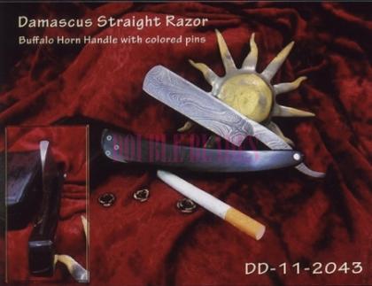 Damascus Steel Straight Shaving Razor Horn Handle