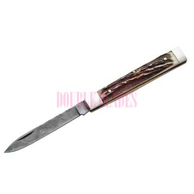 DAMASCUS DOCTOR KNIFE - HORN WOOD