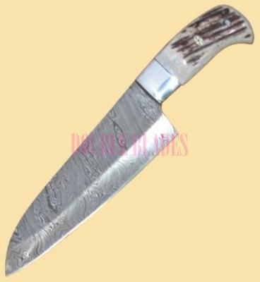 Damascus Kitchen Knife Stag Handle