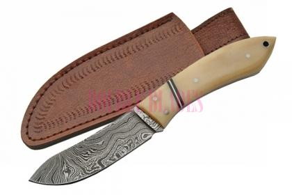 DAMASCUS CAT SKINNER BONE HANDLE