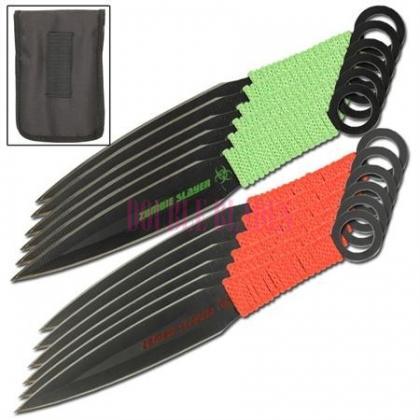 Naruto Kunai Throwing knives Green-Red 12 Pcs