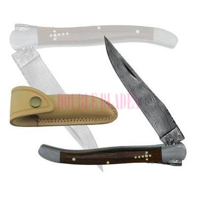 Damascus Steel Laguiole Knife Single Blade wood Handle