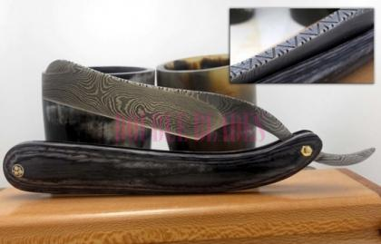 Damascus Steel Shaving Razor Black Wood Handle