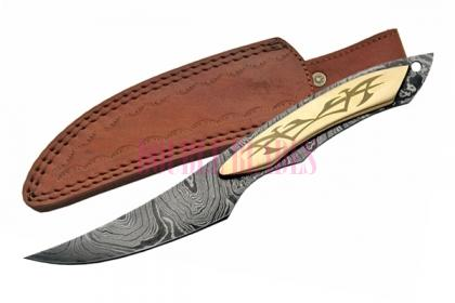 BRASS DAMASCUS FULL TANG HUNTER KNIFE