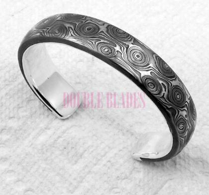 Handmade Damascus Steel Bracelet Bird Eyes