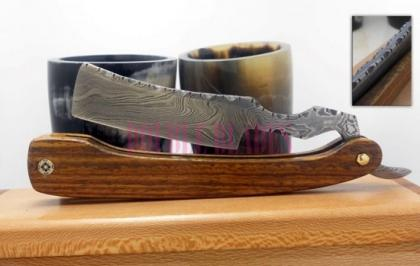 Damascus Steel Shaving Razor Wood Handle