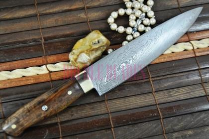 Custom Made Chef Knife Damascus Wood Handle