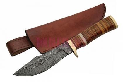 DAMASCUS LEATHER STACKED BOWIE KNIFE
