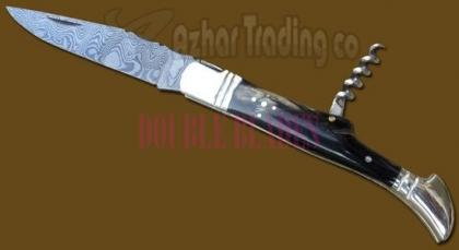 Damascus Steel Laguiole Knife 2-Pcs Horn Handle