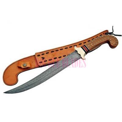 Damascus Hunting Knife wood Handle