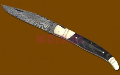 Damascus Steel Laguiole Knife Single Blade Horn Handle