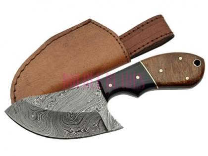 DAMASCUS WALNUT CAT SKINNER KNIFE