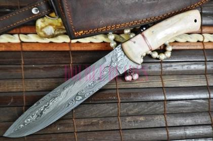 Custom Handmade Damascus Bowie Knife Bone Handle